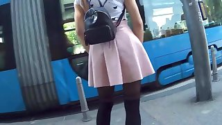 Nice Teen In Lil' Dress & Stockings Candid 25.04.'18.