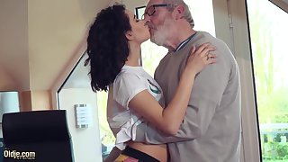 Cute Teen Fucked by Big Cock Granddad Cums in her mouth